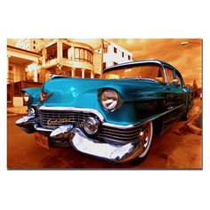 This ready to hang, gallery-wrapped art piece features a 1955 Cadilac Coupe de Ville. Masters Fine Art is a company that travels around the world to bring the best in fine art from outstanding artists