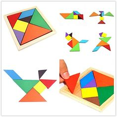GUAngqi Kids DIY Wooden IQ Game Jigsaw Tangram Brain Teaser Puzzle Play Toy >>> See this great image @