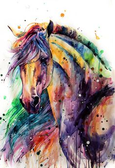 Horse Watercolor Painting Colorful Rainbow Portrait Canvas Print Decorative Art Wall Décor Artwork Wrapped Wood Stretcher Bars - Ready to Hang Handmade in The USA - Watercolor Horse, Watercolor Animals, Watercolor Paintings, Pastel Paintings, Watercolors, Horse Drawings, Art Drawings, Arte Equina, Horse Artwork