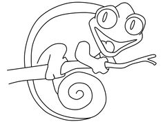how to draw a chameleon step by step for kids