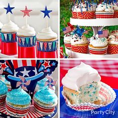 Four for the 4th! Super-easy star-spangled cupcake ideas.
