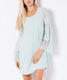 Elegant Apparel Sage Lace-Sleeve Shift Dress | zulily