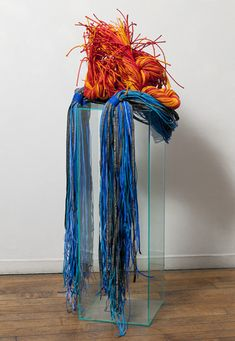Fire From Water (or Fracking America)_2012_52Hx19Wx18D_painted rope, inkjet printing on fabric, twisting, cutting, piecing,whipping,