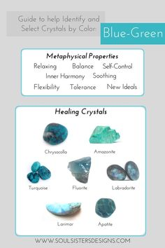 Guide to Blue-Green Healing Crystals by Soul Sisters Designs Chakra Crystals, Crystals Minerals, Blue Crystals, Crystals And Gemstones, Stones And Crystals, Gem Stones, Crystal Healing Stones, Crystal Magic, Healing Crystal Jewelry