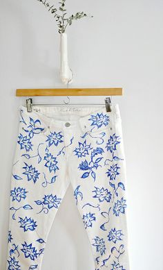 diy floral jeans-white jeans with blue floral pattern by ...love Maegan, via Flickr