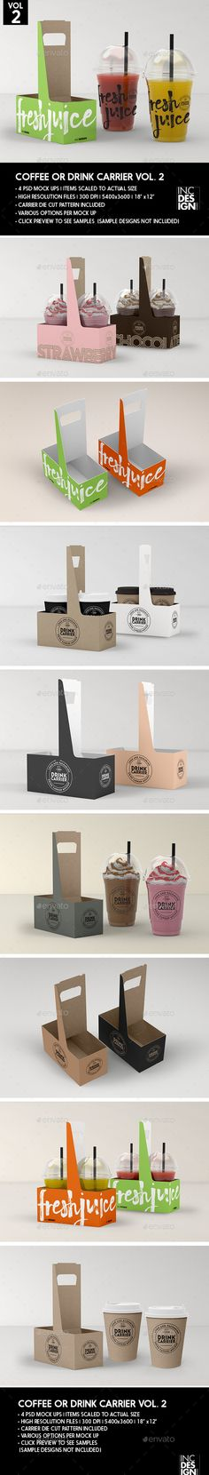 Coffee or Drink Take out Carrier Vol.2 Packaging Mock Up - Food and Drink Packaging