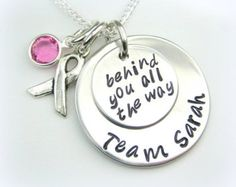 Breast Cancer handstamped personalized jewelry - Susan Komen, support, awareness
