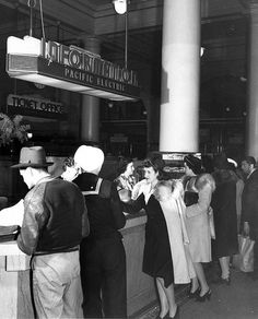 Information Booth at Pacific Electric Railway Company's 6th & Main Street Station, Los Angeles, c.1942
