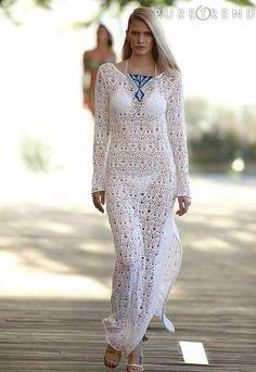 Inspirations Croche with Any Lucy: Dress Mode Crochet, Crochet Lace, Blouse Dress, I Dress, Bikinis Crochet, Crochet Wedding, Moda Boho, Bohemian Mode, Estilo Boho