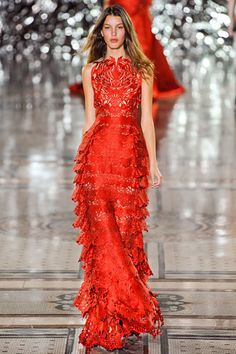 How fantastic is this laser cut, red-hot Giles couture gown