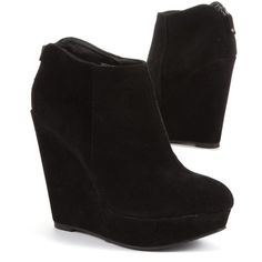 Black Zip Back Wedges ($41) ❤ liked on Polyvore