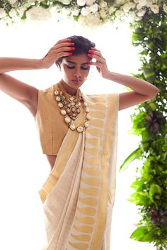 Raw Mango silk white saree