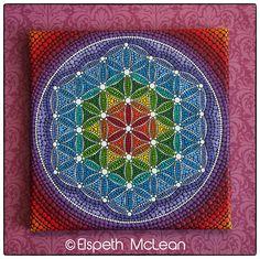 Rainbow Flower of Life painting by Elspeth McLean