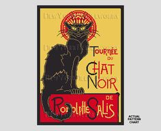 Chat Noir Cross Stitch French Cat Cross by NewYorkNeedleworks