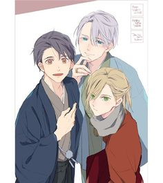 Yuri On Ice trio ❤ Credit to the lovely _2kawa on Twitter