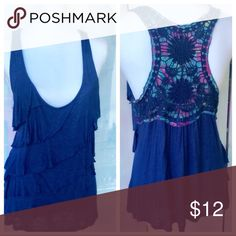 Boho blue top with lace Floral racerback panel. Boho blue with Floral racerback panel size large by Eyeshadow. Eyeshadow Tops Tank Tops
