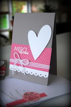 Merci - Thank You Card! Sweet and simple but very catchy! Love how the french word makes it more adorable! Love Cards, Diy Cards, Thank You Cards, Heart Cards, Card Tags, Creative Cards, Greeting Cards Handmade, Scrapbook Cards, Homemade Cards