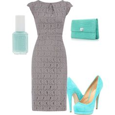 """""""grey and tiffany blue"""" Not usually my style but beautiful!"""