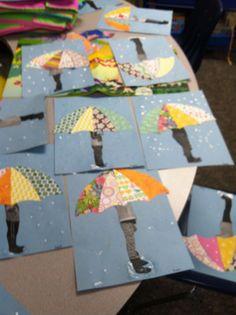 Best 12 Spring Umbrella With Rain Boots Craft by Happily Ever Elementary – SkillOfKing. Spring Art Projects, School Art Projects, Spring Crafts, Projects For Kids, Crafts For Kids, Arts And Crafts, Kindergarten Art, Preschool Art, Classe D'art