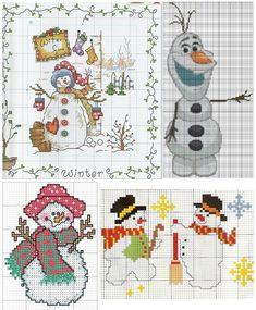 снеговик, снеговики, подборка простых цветных схем для вышивки крестом, вышивка миниатюра к новому году