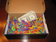 Straws cut into third's w a bill rolled up inside SOME of them..they have to search!! from Simply Writing Out Loud