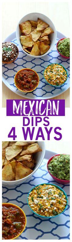 Homemade Mexican dips   Guacamole   Chili Lime Corn Dip   Blender Salsa   Black Bean Dip