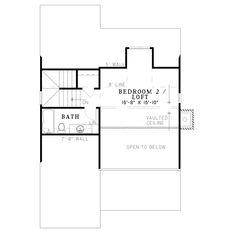 Farmhouse Style House Plan - 2 Beds 2 Baths 1178 Sq/Ft Plan #17-2020 Floor Plan - Upper Floor Plan - Houseplans.com