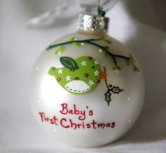 Christmas Birdie Ornament Personalized and Hand Painted by SarEi, $26.00