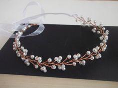 Pearl and Rose headband, rose gold hair accessory, unique headband, pearl hair piece, rose gold hair, prom, bridesmaid hair, formal headband by ElizabethAvaDesigns on Etsy