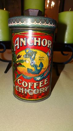 Early c1900's Anchor Coffee Chicory Tin Litho Advertising Can Container LOOK! #Anchor