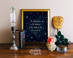 Bible verse art print printable wall decor scripture Christian verses for the wall nursery bible verse, stars INSTANT DOWNLOAD - John 1:5