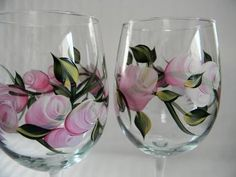 Wine glasseshand painted wine glassespink by Morningglories1, $35.00