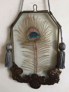 Wire Peacock Feather in Vintage Frame