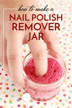 This nail polish remover jar the key to quick and mess-free manicures at home. And all you need to make it is nail polish remover, a jar, and a sponge!
