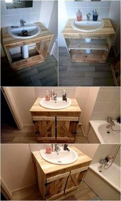 Unlimited Ideas with Old Shipping Wood Pallets Wood Pallet Projects ideas Pallets Shipping Unlimited Wood Diy Pallet Furniture, Diy Furniture Projects, Diy Pallet Projects, Bathroom Furniture, Pallet Ideas, Antique Furniture, Palette Diy, Budget Bathroom, Bathroom Ideas
