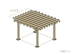 Cross Beam, Building A Pergola, Wooden Posts, Poured Concrete, Wheelbarrow, Wood Planks, Picnic Table, Home Improvement, Outdoor Structures
