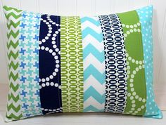 Pillow Cover  12 x 16 Inches  Aqua Blue Navy by theredpistachio. , via Etsy.
