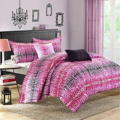 Waves Comforter Set, Pink
