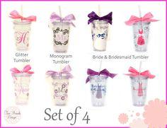 Set of 4 Wedding Party Personalized Acrylic Tumblers