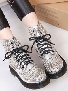 Silver Personality Street Rivet Martin Boots