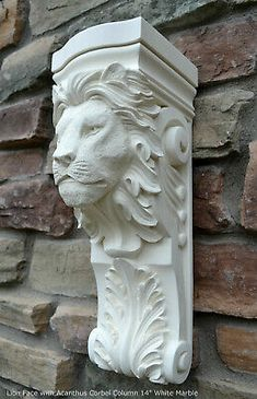 Animal Lion Face with Acanthus Corbel Column plaque sconce wall carving Wood Sculpture, Wall Sculptures, House Pillars, Christmas Chandelier, Design Candle Holders, Bg Design, Stone Mantel, Architectural Antiques, Garnet Stone
