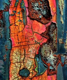 NATURE - nature's artwork - peeling and rust colour, surface pattern and texture - beauty in decay Art Et Nature, Nature Artwork, Patterns In Nature, Textures Patterns, Nature Pattern, Print Patterns, Art Texture, Texture Painting, Blue Texture