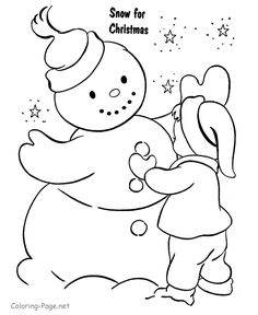 Christmas Coloring Pages   Christmas Coloring Pages - Making Snowman