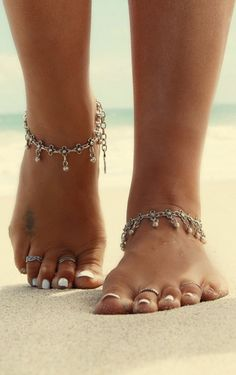 Bohemian Hippie Popular Brand 09 Barefoot Elephant Antique Charms Anklets Pair Ethnic Gypsy