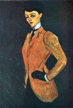 'der amazon', öl auf leinwand von Amedeo Modigliani (1884-1920, Italy)