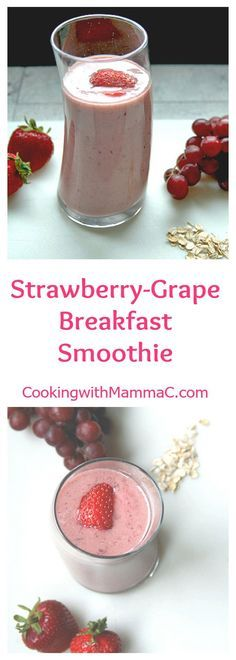 Strawberry-Grape Breakfast Smoothie -- a healthy, vegan smoothie with almond milk, oats and no bananas! So fruity and delicious!