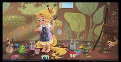 Illustration de Raiponce enfant par David Gilson