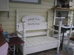Benches made from headboards