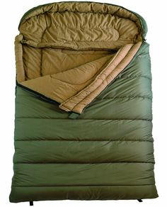 """TETON Sports Mammoth Queen Size Flannel Lined Sleeping Bag (94""""x 62"""", Green, 0 Degree F): Sports & Outdoors"""