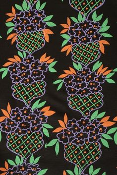 fa6d5d4500 Close up of fabric used in the Ossie Clark Celia Birtwell printed black  wool jersey
